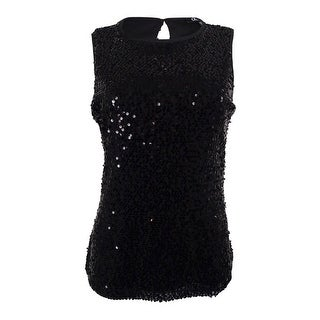 Onyx Nite Women's Sequined Sleeveless Blouse - Black