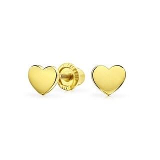 Bling Jewelry 14K Gold Heart Secure Screwback Earrings