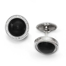 Chisel Stainless Steel Polished with CZ and Onyx Circle Cuff Links
