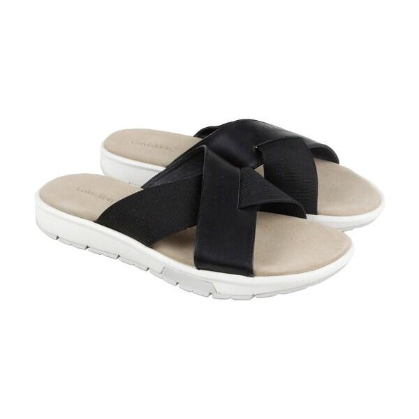 Calvin Klein Palmiro Nappa Calf Mens Gray Leather Flip Flops Sandals Shoes
