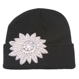 Womens Winter Cuffed Beanie w/ Jeweled Floral Crest