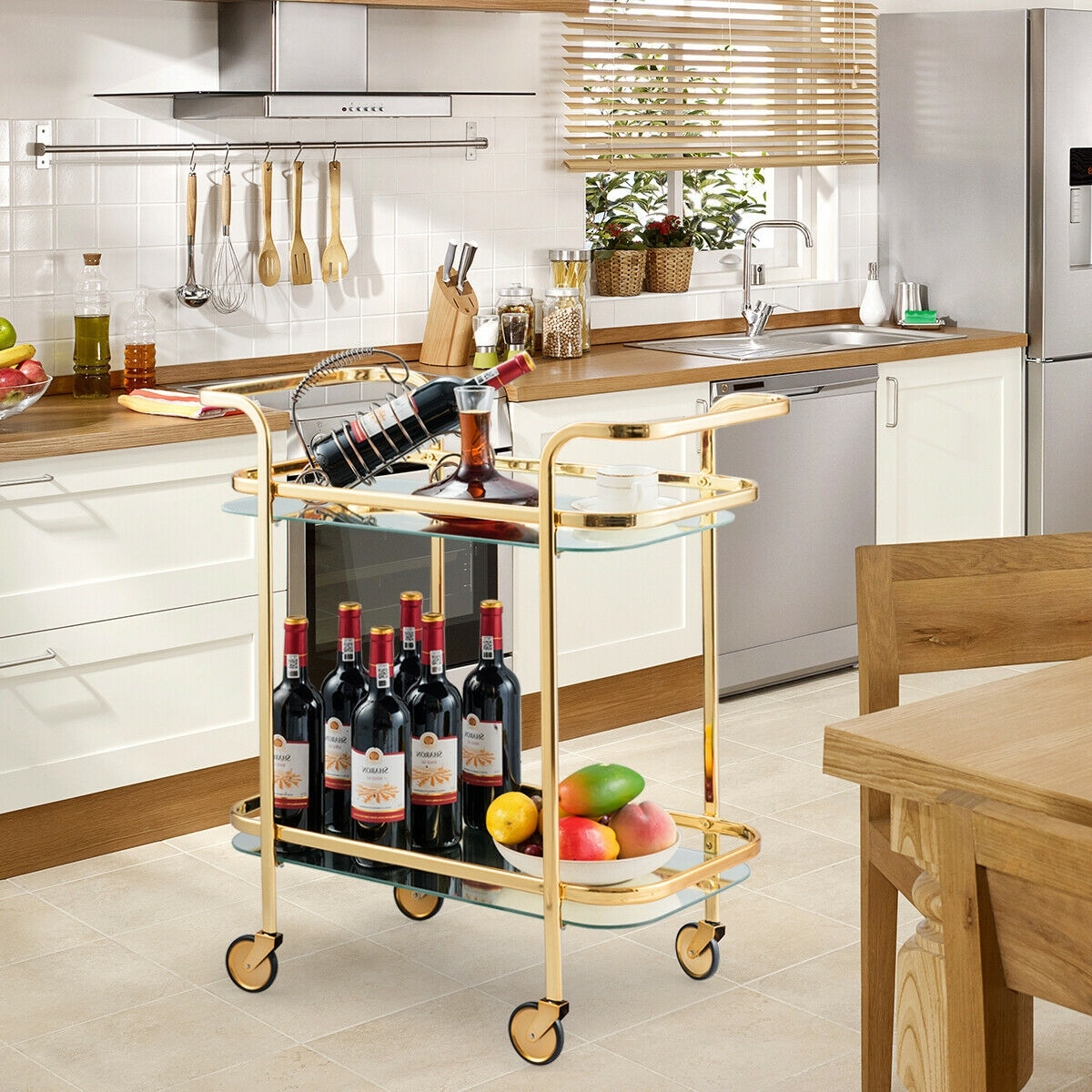 Gymax 2 Tier Serving Cart Rolling Kitchen Bar Cart W Glass Shelves Gold Metal Frame Glass And Gold