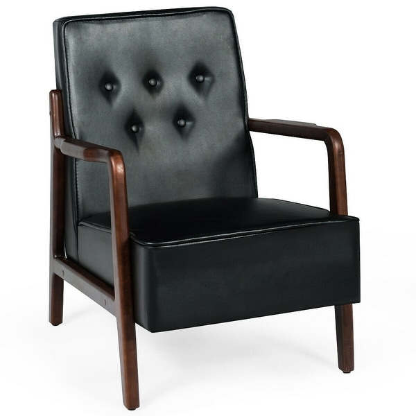 Midcentury Modern Accent Chair Lounge Chair Tufted Back Upholstered-Black