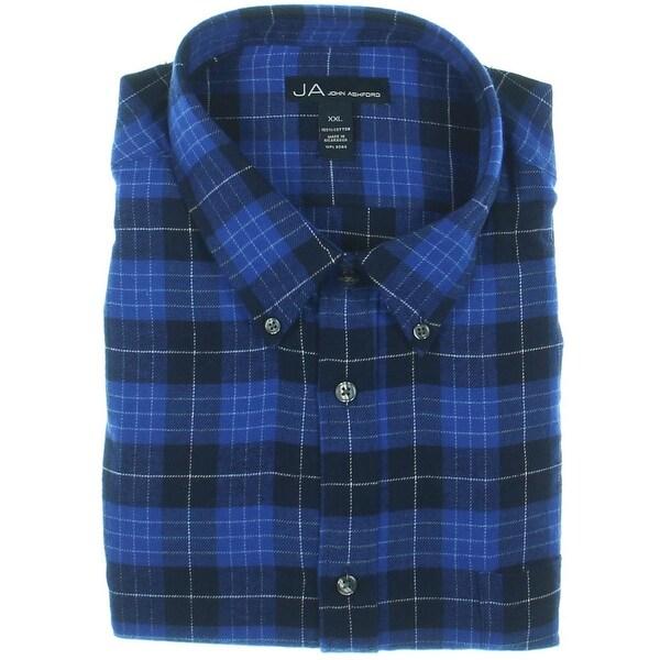 John Ashford Mens Button-Down Shirt Flannel Plaid
