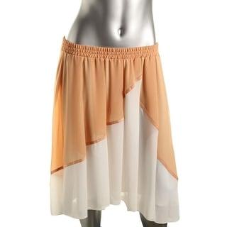 Studio M Womens Pleated Colorblock A-Line Skirt - L