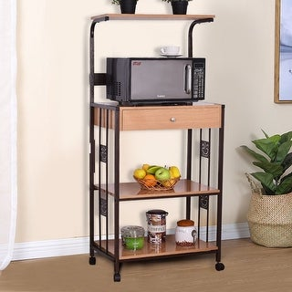 Costway 59'' Bakers Rack Microwave Stand Rolling Kitchen Storage Cart w/Electric Outlet - as pic
