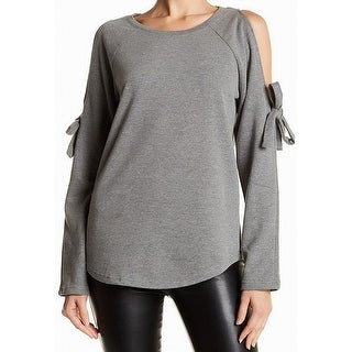 Cable & Gauge Gray Women's Size Large L Boat Neck Cold-Shoulder Sweater