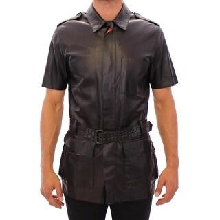 Costume National Costume National Black Leather Short Sleeve Jacket - it48-m