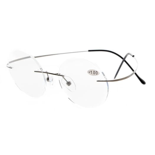 97a61485c3a Shop Eyekepper Titanium Rimless Round Reading Glasses Readers Gunmetal +2.75  - Free Shipping On Orders Over  45 - Overstock - 15947260