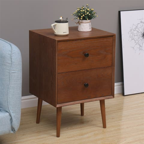 Merax Furniture Flynn Mid Century Modern 2 Drawer Nightstand