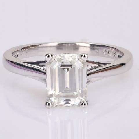 Miadora 14k White Gold 2ct TGW Octagon-cut Created Moissanite Solitaire Engagement Ring