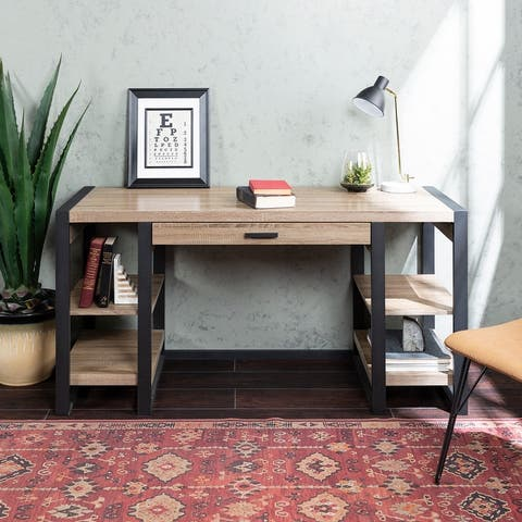 60-inch Driftwood Urban Blend Computer Storage Desk