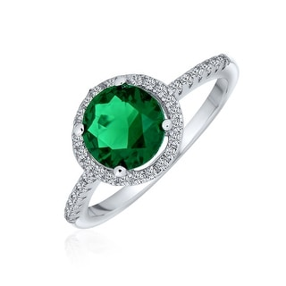 Link to 3CT Round Solitaire Green Imitation Emerald CZ Halo Statement Ring Similar Items in Rings