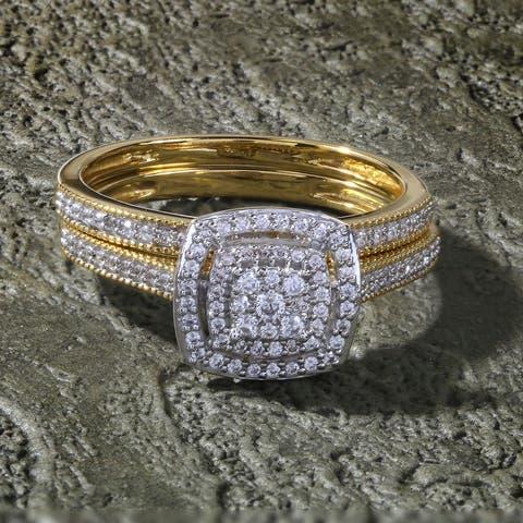 De Couer 10k Yellow Gold 1/3ct TDW Diamond Cluster Halo Bridal Set