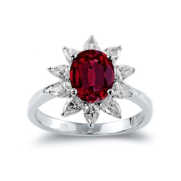 Diamond color gemstone 925 Silver Ring Oval Shaped Ruby 3.45 Carat Gemstone