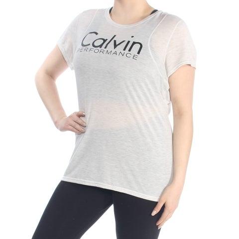 CALVIN KLEIN Womens Ivory Logo T Shirt Short Sleeve Jewel Neck Top Plus Size: 1X