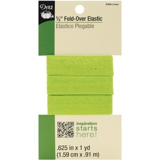 """Dritz Fold-Over Elastic 5/8""""X1yd-Lime - Lime"""