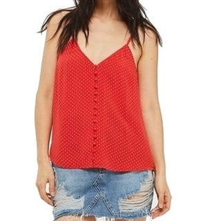 TopShop NEW Red Women's Size 8 Polka Dot Button Down Tank Cami Top