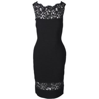 Tadashi Shoji Womens Evening Dress Lace-Trim Sleeveless