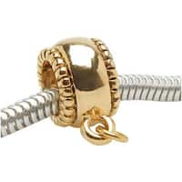 22K Gold Plated Beaded Edge Bead Charm Bail - European Style Large Hole - 10mm (1)