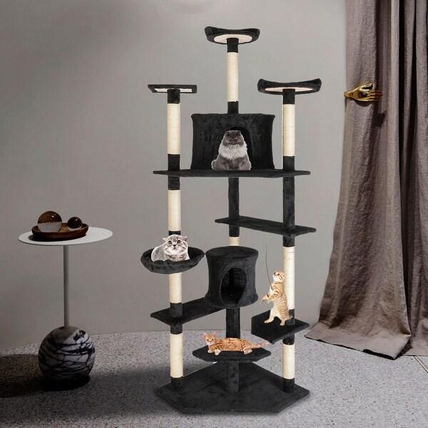 "80"" Sisal Rope Plush Cat Climb Tree Cat Tower. Opens flyout."