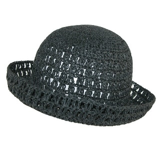 CTM® Women's Toyo Straw Sun Crochet Bucket Hat - One Size