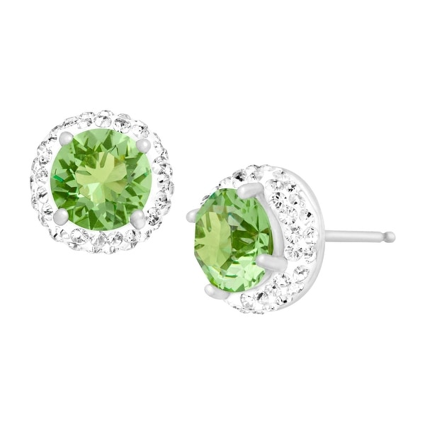 Crystaluxe August Earrings with Green Swarovski Crystals in Sterling Silver