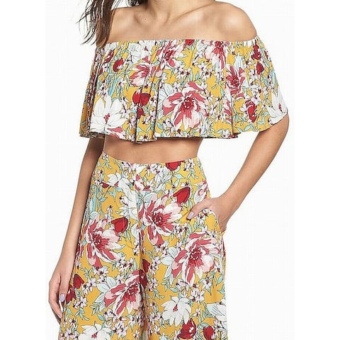 Leith Yellow Womens Size XXL Floral Print Off Shoulder Blouse