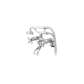 "Elements Of Design ES2661X  Triple Handle 3-1/2"" to 8-1/2"" Center Wall Mounted Clawfoot Tub Filler with Metal Cross Handles and"