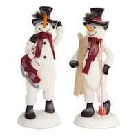Pack of 2 White and Black Snowmen Christmas Decorations 29""