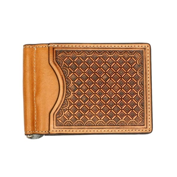 Nocona Western Wallet Mens Money Clip Leather Emboss Natural