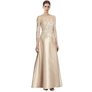 Teri Jon Elegant Bead Top Sequined Branches Satin Gown Dress