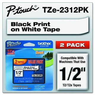 "Brother Tze2312pk 1/2"" Standard Laminated P-Touch Tape Black On White"
