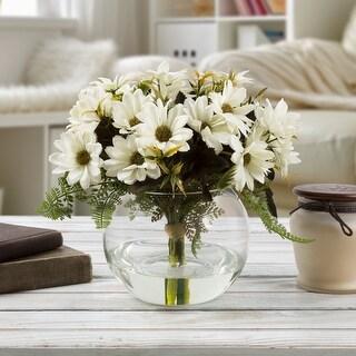 Faux Daisy Floral Table Decor Centerpiece Glass Vase Artificial Water Weddings