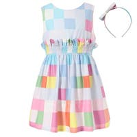 Richie House Girls' Colorful Plaid Dress with Elastic Waistband