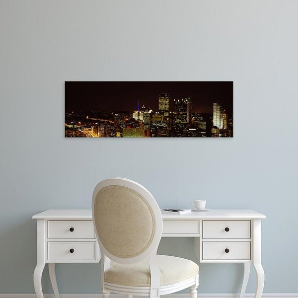 Easy Art Prints Panoramic Images's 'Buildings lit up at night in a city, Pittsburgh Pennsylvania, USA' Canvas Art