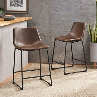 Cedric Leather Counter Stool by Christopher Knight Home (Set of 2)