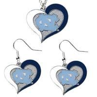 UNC North Carolina Tar Heels Swirl Heart Dangle Logo Necklace and Earring Set Charm Pendant Gift NCAA