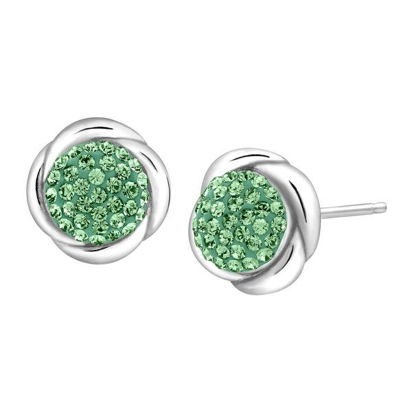 4b88eb57c Crystaluxe Button Stud Earrings with Green Swarovski Crystals in Sterling  Silver