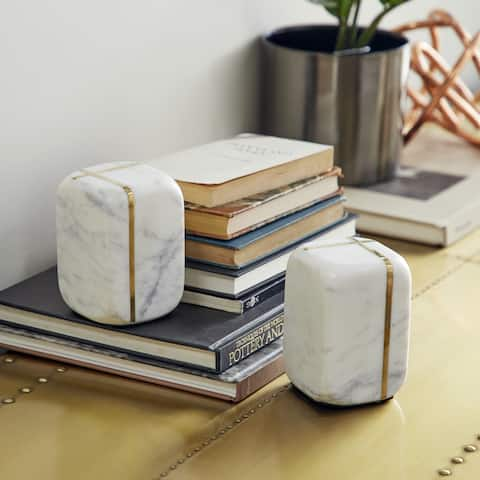 """Cubed White Marble Bookends with Gold Metal Accents, 5"""" x 6"""" Each - 5 x 3 x 6"""