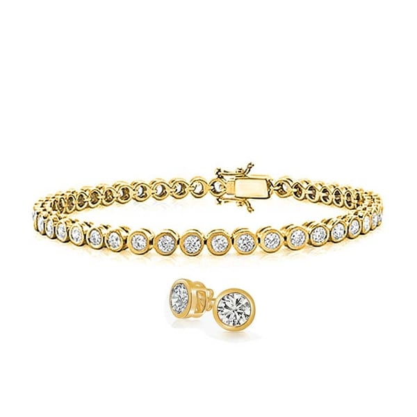 543a2167f Bridal Round Bubble Bezel Set Tennis Bracelet Earring Set For Women Cubic  Zirconia CZ 14K Gold