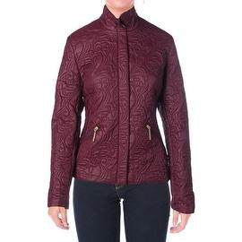 T Tahari Womens Sydney Paisley Pattern Front Zip Coat - L