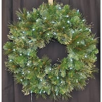 Christmas at Winterland WL-GWBM-02-LPW 24 Inch Pre-Lit Pure White LED Blended Pine Wreath Indoor / Outdoor