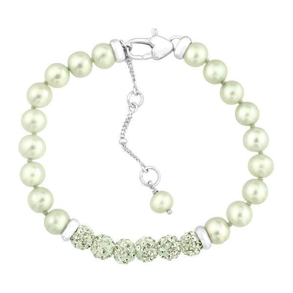 Crystaluxe Girl's Green Freshwater Pearl Bracelet with Swarovski Crystals in Sterling Silver