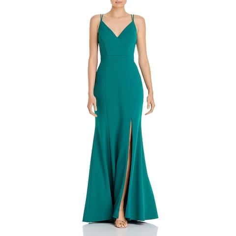Aqua Womens Formal Dress Side Slit V-Neck - Green