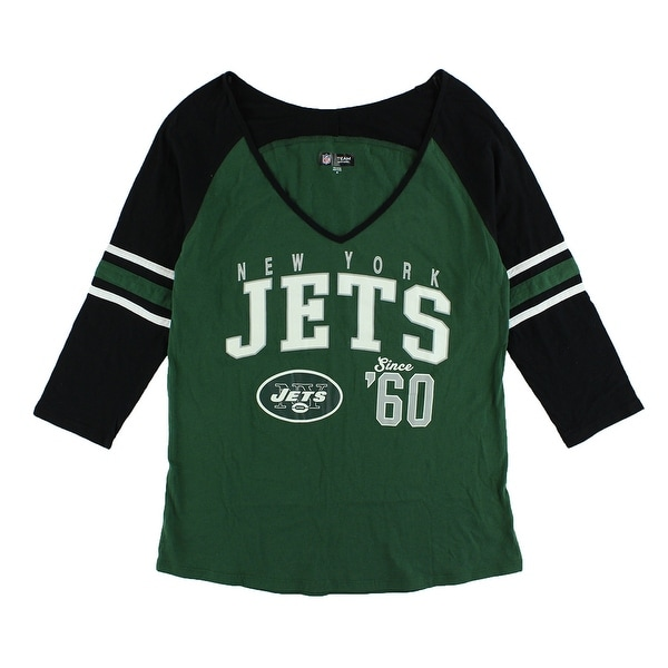 Shop NFL Womens New York Jets Three Quarter V Neck T Shirt Green - On Sale  - Free Shipping On Orders Over  45 - Overstock.com - 22641675 9ef4367d0