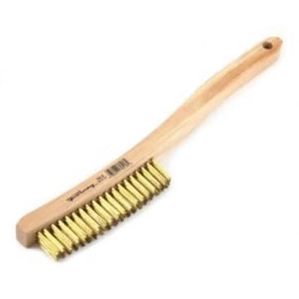 """Forney 70518 Wire Scratch Brush, Brass with Curved Wood Handle, 13-3/4"""" x .012"""""""