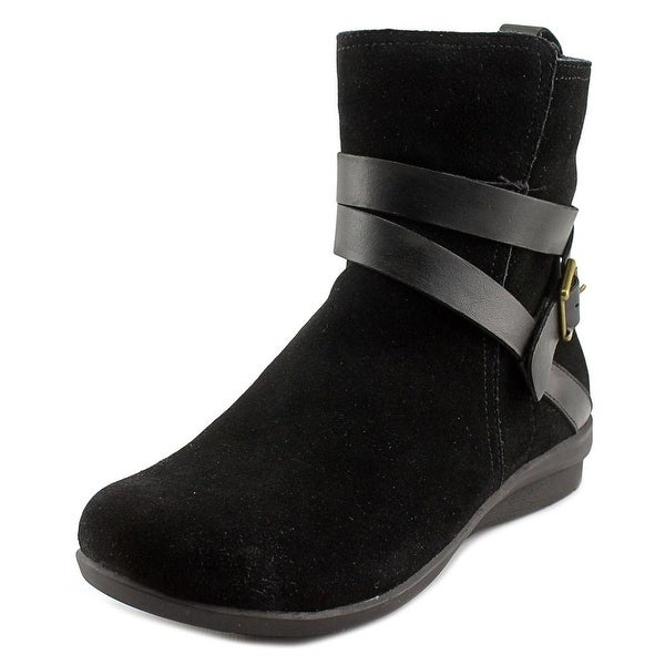 Array Brandy Women N/S Round Toe Leather Black Ankle Boot