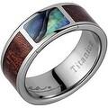 Titanium Wedding Band With Koa Wood & Abalone Inlay 8mm - Thumbnail 0