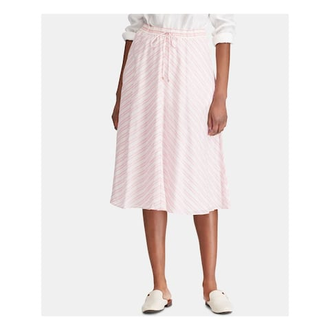 RALPH LAUREN Womens Pink Striped Midi Pleated Skirt Size 12